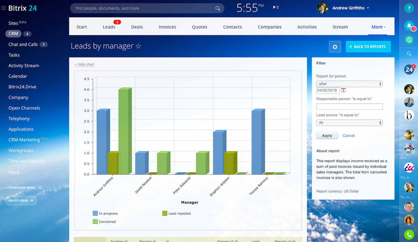 Free CRM with task management